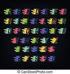 El alfabeto de color de energía. Cartas con líneas de velocidad. Graffiti o fuente de vectores deportivos