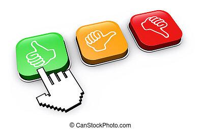 El botón de retroalimentación del cliente feliz