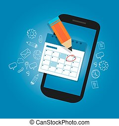 El calendario de Mark en el móvil dispositivo de teléfono inteligente fechas importantes para recordar el plan de organizar el tiempo
