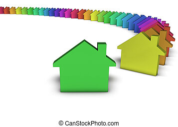 El concepto colorido de la casa verde