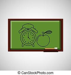 El concepto de educación en la pizarra con el reloj de manzana