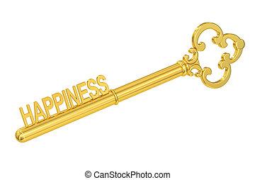 El concepto de felicidad con llave dorada, representación 3D