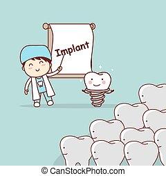 El dentista enseña implantes dentales