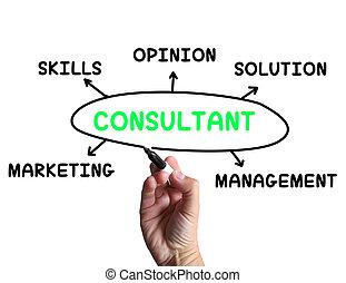 El diagrama del consultor significa habilidades especiales y opiniones