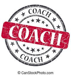 El entrenador Red Grunge textured sello antiguo aislado