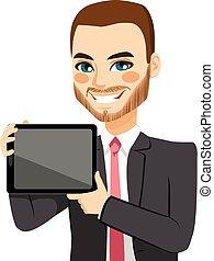 el exhibir, tableta, hombre de negocios