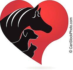 El gato y el corazón de perro adoran el logo