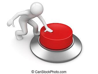 El hombre presiona el botón de emergencia rojo