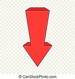 El icono de la flecha roja al estilo de dibujos animados