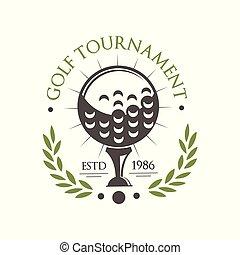 El logo del torneo de golf es 1986, la etiqueta deportiva retro para el campeonato de golf, club, vector de tarjeta de negocios de ilustración en un fondo blanco