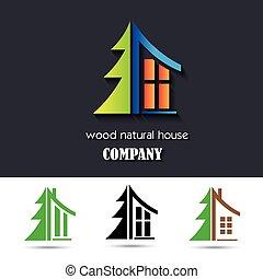 El símbolo de la casa con material de madera