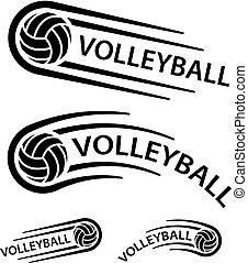 El símbolo de la línea de movimiento de bolas de voleibol