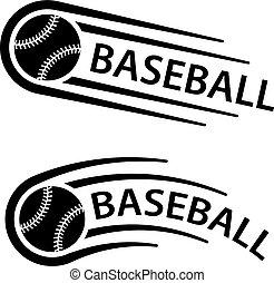 El símbolo de la línea de movimiento de pelota de béisbol