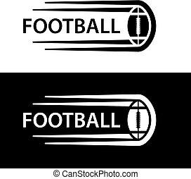 El símbolo de la línea de movimiento de pelota de fútbol americano