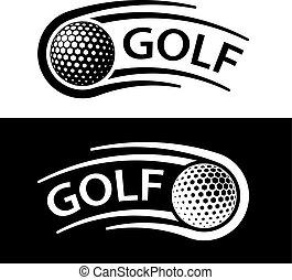 El símbolo de la línea de movimiento de pelota de golf