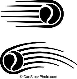 El símbolo de la línea de movimiento de pelota de tenis