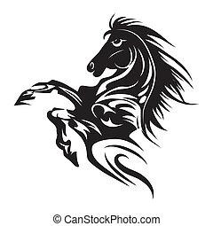 El símbolo de tatuaje de caballo para el diseño aislado en el emblema blanco o la plantilla de logo.