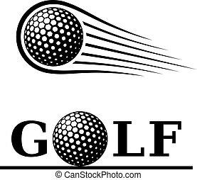 El símbolo de texto de la línea de movimiento de pelota de golf