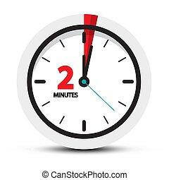 El símbolo del reloj de dos minutos. Vector 2 minutos vector icono.