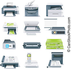 El vector detalló el icono de las partes del ordenador