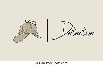 elegante, empate, sombrero, mano, detective, estilo