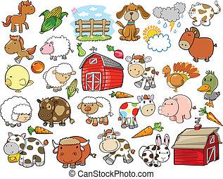Elementos de diseño de vectores de animales