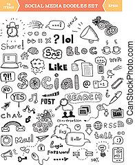 Elementos de garabatos de los medios sociales