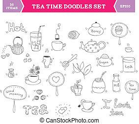 Elementos vectoriales de té doodle