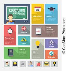 Elementos web de educación plana con iconos