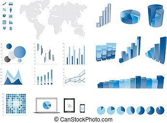 elemtns, gráfico, barra, 3d, finanzas