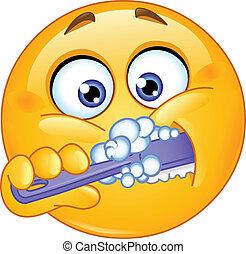 emoticon, cepillar dientes