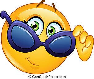 emoticon, el mirar encima, gafas de sol