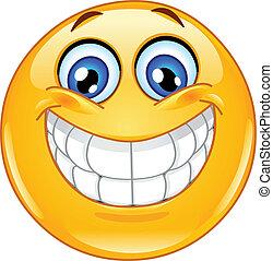 emoticon, sonrisa grande