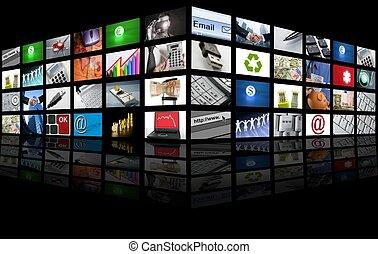 empresa / negocio, televisión, pantalla grande, internet, panel