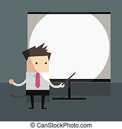 Empresario con pantalla de proyector.