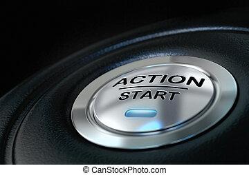 Empuje el botón de acción sobre el fondo negro, la luz azul, el concepto de motivación