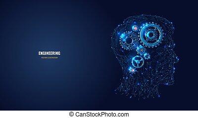 engranajes, cabeza, ilustración, polygonal, resumen