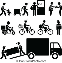 entrega, poste, cartero, mensajero, hombre
