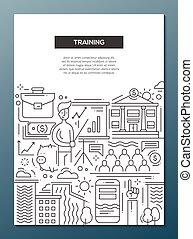 Entrenamiento de Empresas, diseño de línea de folletos, plantilla A4