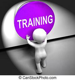 entrenamiento, medios, apretado, educación, inducción, o, seminario
