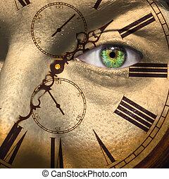 envejecimiento, concepto, o, bio, reloj