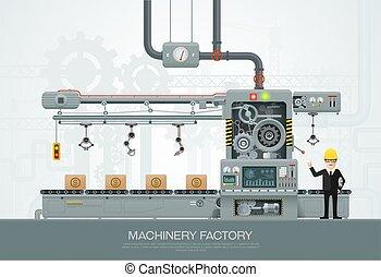 equipo construcción, ingeniería, vector, fábrica, industrial, máquina, ilustración