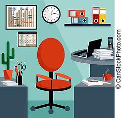 equipo del negocio, objects., oficina, cosas, lugar de trabajo