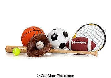 Equipos deportivos variados en blanco
