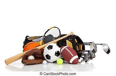 Equipos deportivos variados en un fondo blanco