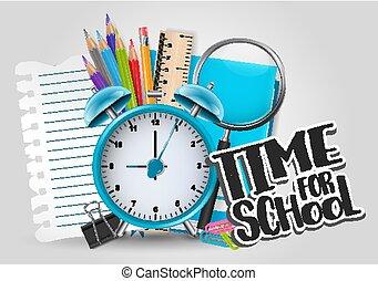 Es hora de estudiar con material educativo, despertador y un trozo de papel roto. Ilustración de vectores.
