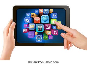 es, pantalla, icons., mano, pc, conmovedor, vector, almohadilla, dedo, tenencia, tacto