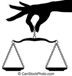 escala, mano, persona, tenencia, pesar, balance