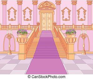 Escaleras de lujo en palacio mágico