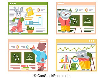 escenas, classroom., divertido, animales, escuela, conjunto, students., colección, espalda, caricatura